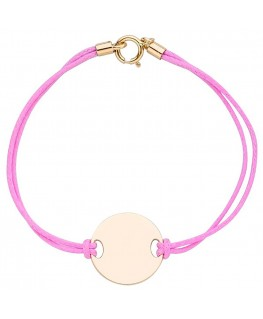 Bracelet Enfant Or 750/1000 Jaune Cordon Rose Plaque Ronde