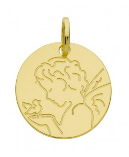 Médaille Or Jaune 375-000 Cherubin et Oiseau