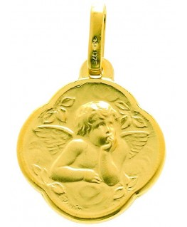 Médaille Or Jaune 375-000 Ange Mat Bords Lisses