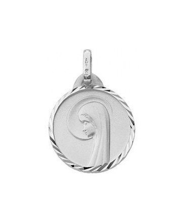 MEDAILLE OR BLANC 9 CARATS VIERGE SATINE