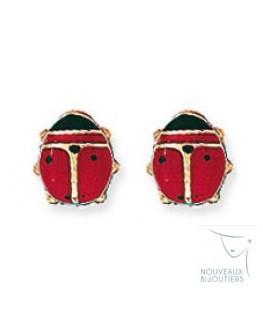 Boucles Puces Or 375/1000 Coccinelle Laquée Rouge et Noir