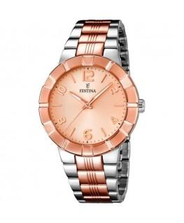 Montre FESTINA Dame bracelet bicolore fond rose