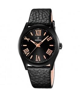 Montre FESTINA Dame bracelet cuir noir fond noir cuivré