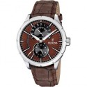 Montre FESTINA Homme bracelet cuir marron fond marron noir