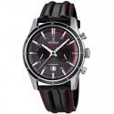 Montre FESTINA Homme dual-time bracelet cuir fond noir rouge