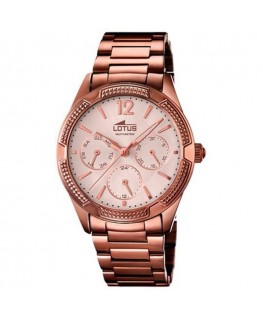 Montre LOTUS Dame multi-fonctions bracelet acier marron fond rose