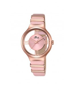 Montre LOTUS Femme Bracelet Cuir Rose Cadran Fond Transparent Rose
