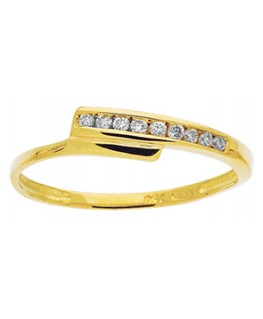 Bague Or Jaune 750-000 + Diamants 0,09 Carat