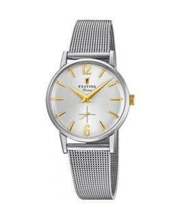 Montre FESTINA Dame Collection Extra bracelet acier fond argenté doré