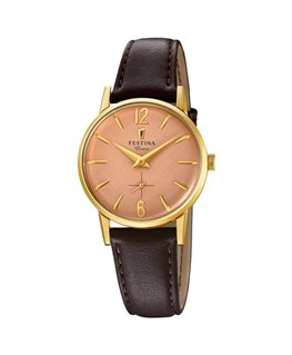 Montre FESTINA Dame Collection Extra plaqué bracelet cuir marron fond rose