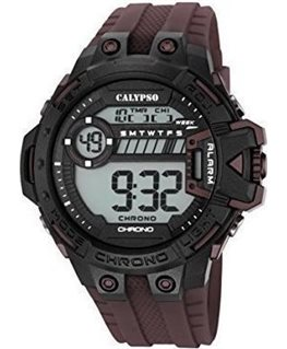 MONTRE CALYPSO HOM DIGITAL MARRON FONCE