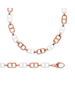 BRACELET PL-OR ROSE + CERAMIQUE BLANC