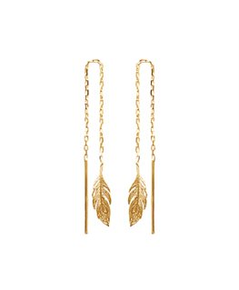 BOUCLES PL-OR CHAINE + PLUME