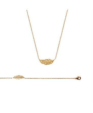COLLIER PL-OR CHAINE FORCAT BRELOQ-PLUME