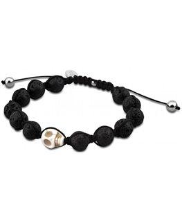Bracelet Acier Lotus Homme Boules Noires Mat + Tête de Mort