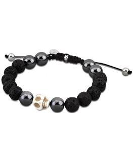 Bracelet Acier Lotus Homme Boules Noires Mat et Brillante + Tête de Mort