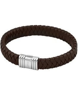 Bracelet Acier Lotus Homme Bracelet Cuir Tressé Marron