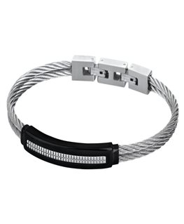 Bracelet Acier Lotus Homme Cable + Plaque Noire