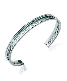 Bracelet Jonc Zircon Cubique Solitaire Bypass Argent Sterling 6 75 in environ 190.50 cm Fermoir