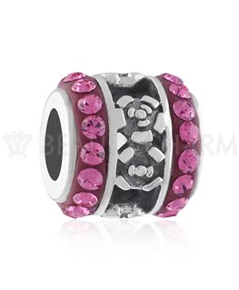 BEAUTY CHARMS ARGENT CRISTAL ROSE