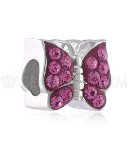 BEAUTY CHARMS ARGENT PAPILLON CRISTAL