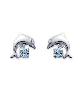 boucles argent dauphin cristal bleu ciel