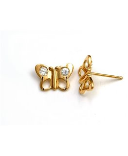 Boucles Puces Or Jaune 750/1000 Papillon + Oxyde de zirconium