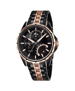 Montre LOTUS Homme multi-fonctions bracelet acier fond noir cuivré