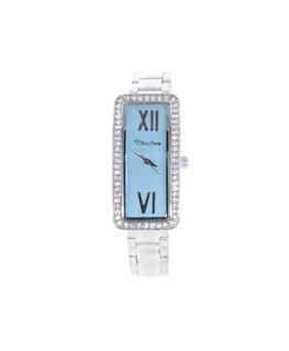 Montre Femme Cadran Rectangulaire métal Fond bleu