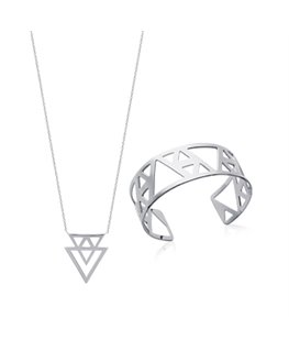 Collier Argent Motif Double Tiangle