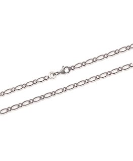 CHAINE ARGENT Maille FIGARO 1+1 2MM