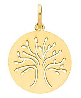 Médaille Or Jaune 375-000 Républicain Arbre de Vie Ajouré