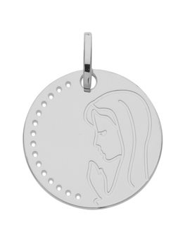 MEDAILLE OR GRIS VIERGE PRIERE 375-000
