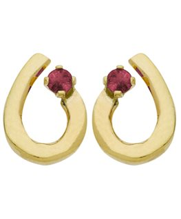 Boucles Puces Or Jaune 375-000 Goutte + Rubis 2mm