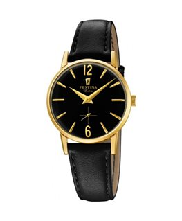 Montre FESTINA Dame Collection Extra bracelet cuir noir fond noir