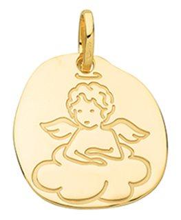 Médaille Or Jaune 750/1000 Ange sur Nuage