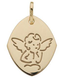Médaille Or Jaune 750/1000 Forme Ovale Ange sur Nuage