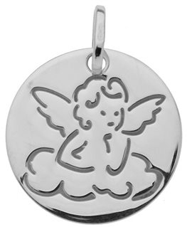 MEDAILLE OR GRIS RONDE ANGE SUR NUAGE