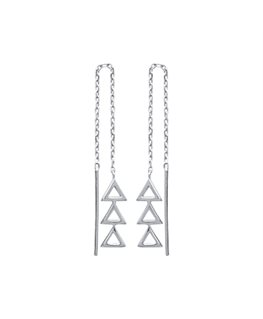 BOUCLES ARGENT CHAINE + 3 TRIANGLE