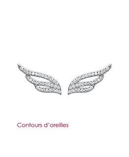 Boucles Argent Rhodié Contours d'Oreilles Ailes d'Anges