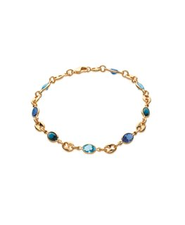 BRACELET Plaqué Or CRISTAL BLEU + GRAIN CAFE