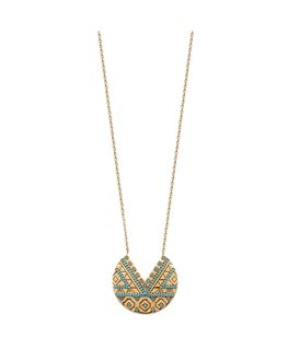 COLLIER PL-OR FANTAISIE + PS BLEU C