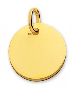 Médaille Or Jaune 750/1000 Plaque Ronde