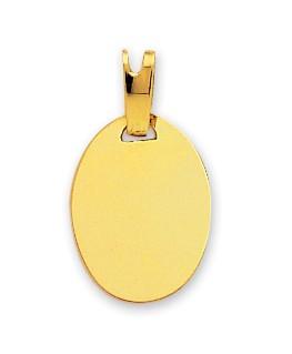Médaille Or Jaune 750/1000 Plaque Ovale Lisse