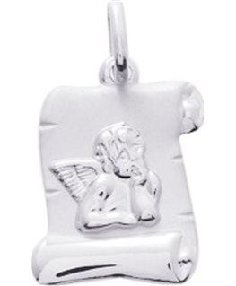 Médaille Or Blanc 750-000 Parchemin Ange