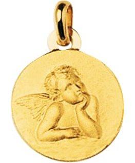 Médaille Or Jaune 750/1000 Plaque Ronde Ange