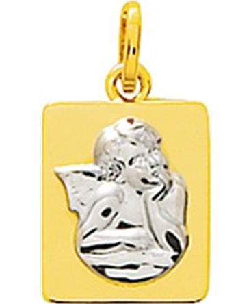 MEDAILLE OR JAUNE 750-000 ANGE OR GRIS