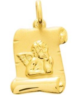 Médaille Or Jaune 750/1000 Parchemin Ange