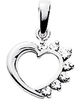 Pendentif Or Blanc 750/1000 Coeur avec Oxyde de Zirconium