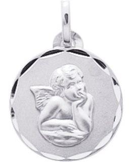 Médaille Or Blanc Plaque Ronde Cisellée Ange Penseur